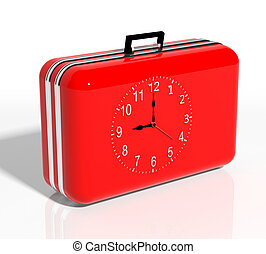 Vacation time. Red travel suitcase with clock