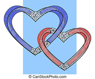 Two bound hearts. Vector art.