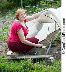 Mature woman working with hothouse at vegetables garden