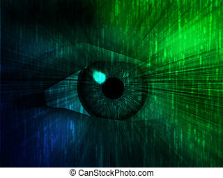 Electronic eye illustration - Electronic eye with glowing...
