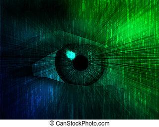 Electronic eye illustration - Electronic eye with glowing...