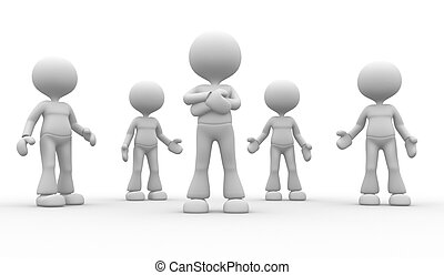 Team - 3d people - man, person in group. Leadership and team