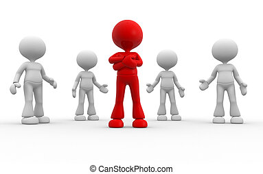 Leader - 3d people - man, person in group. Leadership and...