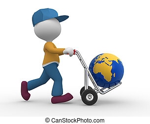 Hand truck - 3d people - man, person with hand truck and...