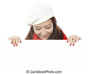 Young Woman Looking Down - A young attractive woman looking...