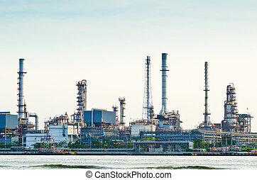 Morning scene of oil refinery factory