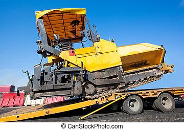 transporte, localizado, paver, machin