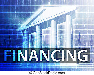 Financing illustration, financial diagram with bank building