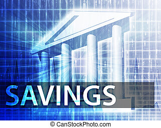 Savings illustration, financial diagram with bank building