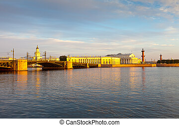 St. Petersburg. Palace Bridge in morning - View of St....