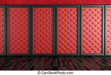 empty room with red upholstered panels - empty room with red...