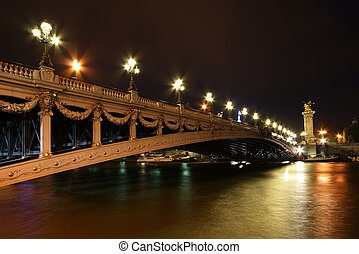 Alexander III bridge at night - The Alexander III bridge at...