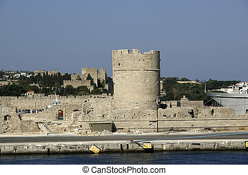 View of the medieval town of Rhodes from the sea