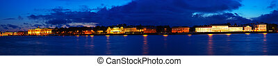 Panoramic view of Vasilyevsky Island in night