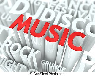 Music Concept. The Word of Red Color Located over Text of...