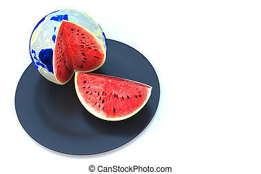 Watermelon in global 3d illustration
