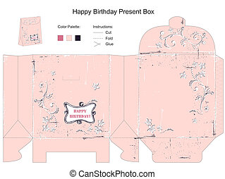 Happy Birthday Gift Box Template
