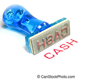 cash blue rubber stamp - cash letter on blue rubber stamp...