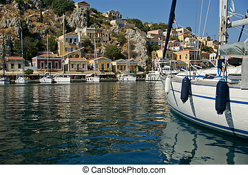 Symi village on island of Symi near island of Rhodes...