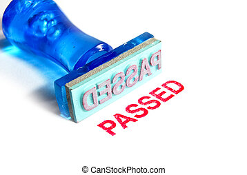 passed blue rubber stamp - passed letter on blue rubber...