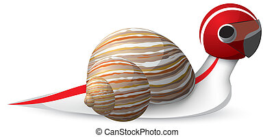 Fast snail vector - Fast snail in a helmet with shadow...