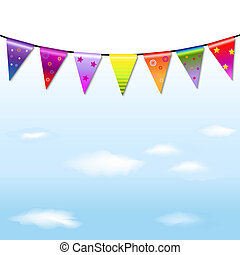 Rainbow Bunting Banner Garland With Sky - Rainbow Bunting...