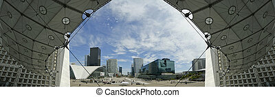 La Defense (panoramic view), commercial and business center of Paris, France