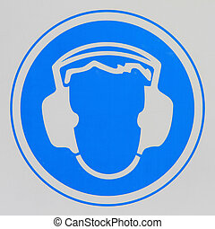 Hearing Protection Required - Actual warning sign on hearing...