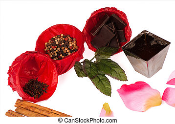 Aphrodisiac flavors - Isolated still life with an assortment...