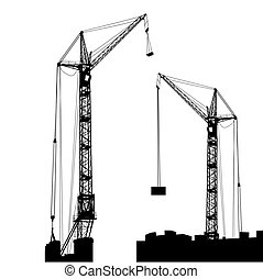 Silhouette of two cranes working on the building. Vector...