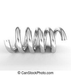 3d render of chrome spring on white