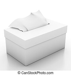 Tissue box isolated on white background 3d illustrator