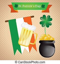 St Patrick?s Day elements on vintage background