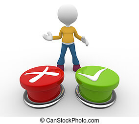 """Button - 3d people - man, person choosing between """"yes""""or..."""