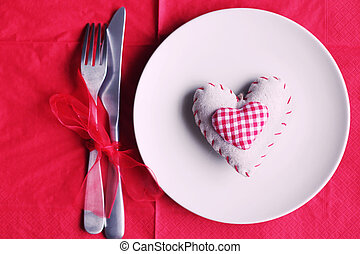Love - St Valentine's day greeting card with plate, knife,...