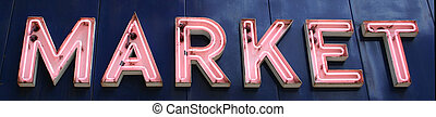 Market Sign - A pink neon sign that reads Market