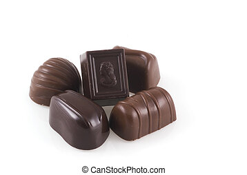 Belgian bonbons - Chocolates isolated on a white background...