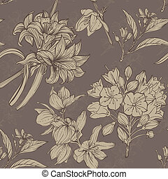 hand drawn flowers seamless pattern