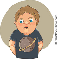 Cartoon boy ashamed in cute t-shirt - - vector cartoon...