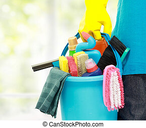 male cleaning service - close up portrait of mans hand with...