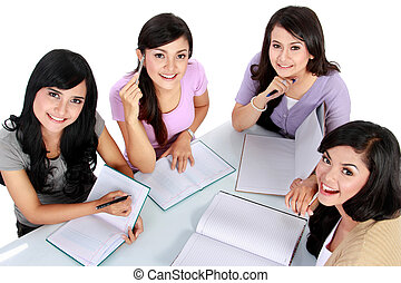 group of student studying together - Studying happy young...