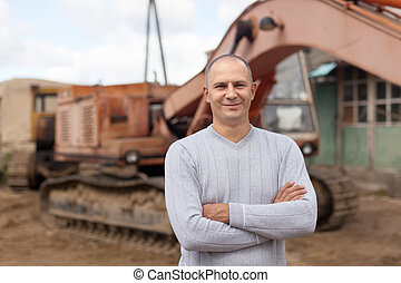 tractor operator at workplace - Portrait of tractor operator...