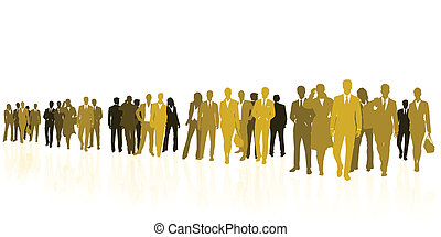 Yellow business - Business team yellow silhouettes