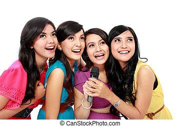 mujer, canto, karaoke, juntos
