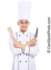 portrait of asian chef smiling - Portrait of confident male...