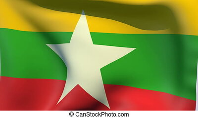 Flag of Myanmar - Flags of the world collection - Myanmar