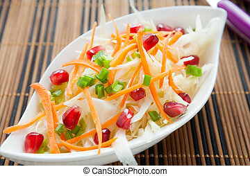 meatless salad with fresh cabbage, closeup