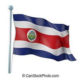 Flag of Costa Rica - 3D Illustration of Detailed Flag Render...