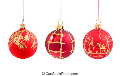 christmas balls on isolated - Red christmas balls isolated...