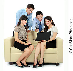 group of business people meeting with laptop - group of...